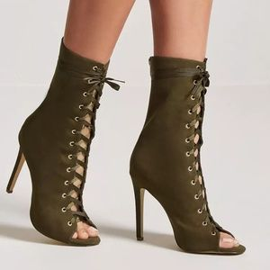 Olive Lace-Up Faux Suede Booties - Sz 6 or 8